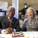 Trevor McDonald with former BOAC stewardess, Diana Archibald, who accompanied Princess Elizabeth to Kenya in January 1952 and brought her back, as Queen, after the King's death on 6th February.