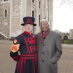 Trevor McDonald with Chief Yeoman Warder, Alan Kingshott in front of the White Tower at the Tower of London. Alan is in charge of the ancient Ceremony of the Keys which has been performed here, without interruption, for 900 years