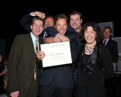 Academy Governors Bob Bergen (L) and Lily Tomlin (R) present Benedict Cumberbatch with the Outstanding Lead Actor In A Miniseries Or A Movie nominee certificate with Hugh Bonneville (2nd L) and Brendan Coyle (2nd R). Photo by Bucci/PictureGroup via AP Images.