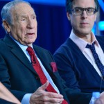 "Robert Trachtenberg:<br> ""He doesn't want to talk about his personal life - he's the Anti-Kardashian! It's great! … He tells you all you need to know - that's why it's called a personal life!"" <br><br> Pictured: Mel Brooks and Robert Trachtenberg at the 2013 Television Critics Association Winter Press Tour in Pasadena, CA. Photo Credit: Rahoul Ghose/PBS."