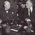 Franklin D. Roosevelt talking with Winston Churchill in Casablanca, Morocco in 1943. Photo Credit: Courtesy Franklin D. Roosevelt Presidential Library and Museum.