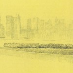 A Louis Kahn sketch of Four Freedoms Park (colored Pencil on yellow trace, circa 1973). Photo Credit: University of Pennsylvania and the Pennsylvania Historical and Museum Commission.