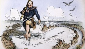 "When it came to international politics, Roosevelt managed to put aside his love of roughhousing. He was a master diplomat, and won a Nobel Peace Prize for negotiating an end to the Russo-Japanese War. His foreign policy slogan, ""Speak Softly and Carry A Big Stick,"" became a favorite visual metaphor for cartoonists."