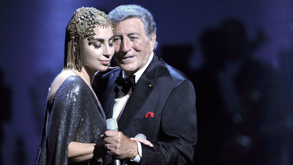 Tony Bennett and Lady Gaga perform jazzy Great American Songbook interpretations in Cheek To Cheek: LIVE!, a concert recorded live for PBS in 2014.