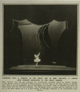 HOW MUCH IS THAT BALLERINA IN THE WINDOW?: A vintage newspaper clip shows the Selfridges window celebrating the glory of ballerina Anna Pavlova.
