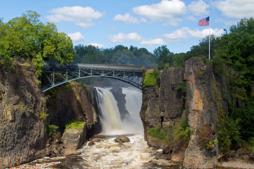Paterson Great Falls National Park in Paterson, New Jersey, has 77-foot falls and is a 20-minute walk from New Jersey Transit. Photo by Daniel C. Krebs.