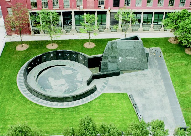 Aerial view of African Burial Ground National Monument at 290 Broadway in Lower Manhattan. Courtesy NPS.