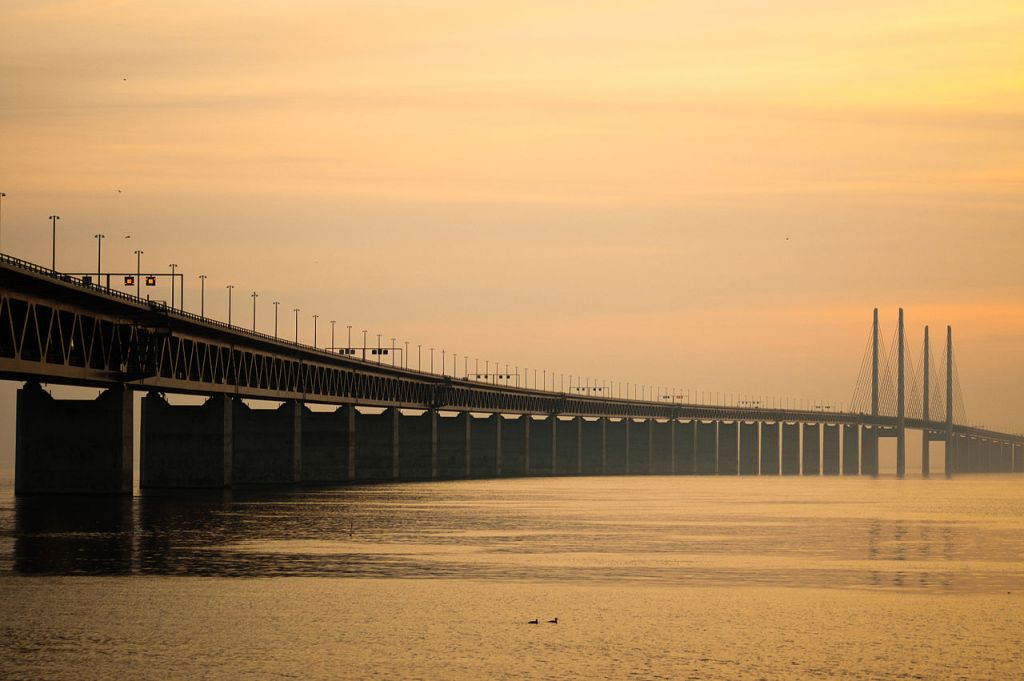 "The Oresund Bridge between Copenhagen, Denmark and Malmo, Sweden was the first setting for the Swedish-Danish series ""The Bridge"" (2011)."