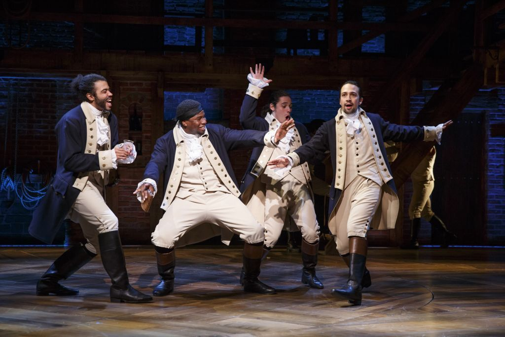 l to r): Daveed Diggs, Okieriete Onaodowan, Anthony Ramos, and Lin-Manuel Miranda in Hamilton, on Broadway. Photo: Joan Marcus