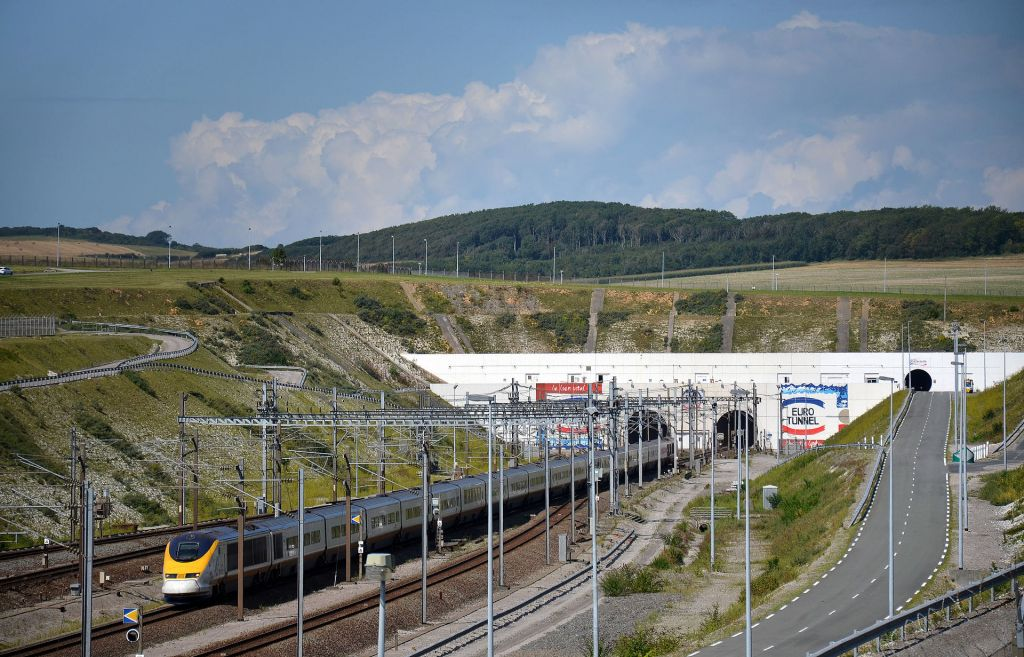 The Channel Tunnel entrance at Coquelles, France, near Calais.