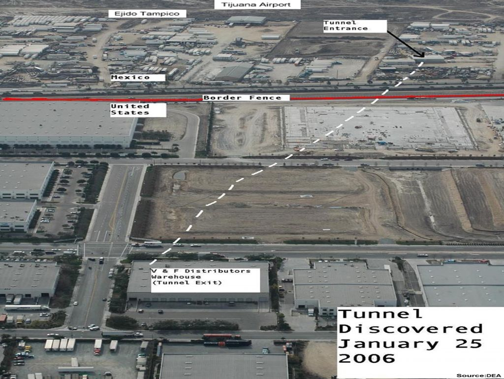 Sinaloa Cartel Tijuana Airport/Ejido Tampico Drug Tunnel 2006. Photo courtesy US Drug Enforcement Administration.