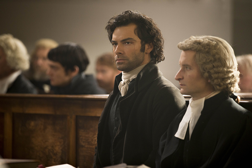 Poldark, Season 2 MASTERPIECE on PBS Episode One | Sunday, September 25th at 8pm ET on PBS | George rolls out plan A to take care of Ross once and for all. Ross resists all attempts tosave him. Francis takes a desperate step. Demelza tries to influence a hanging judge. Shown: Aidan Turner as Ross Poldark; William Mannering as Jeffrey Clymer (C) Adrian Rogers/Mammoth Screen for BBC and MASTERPIECE