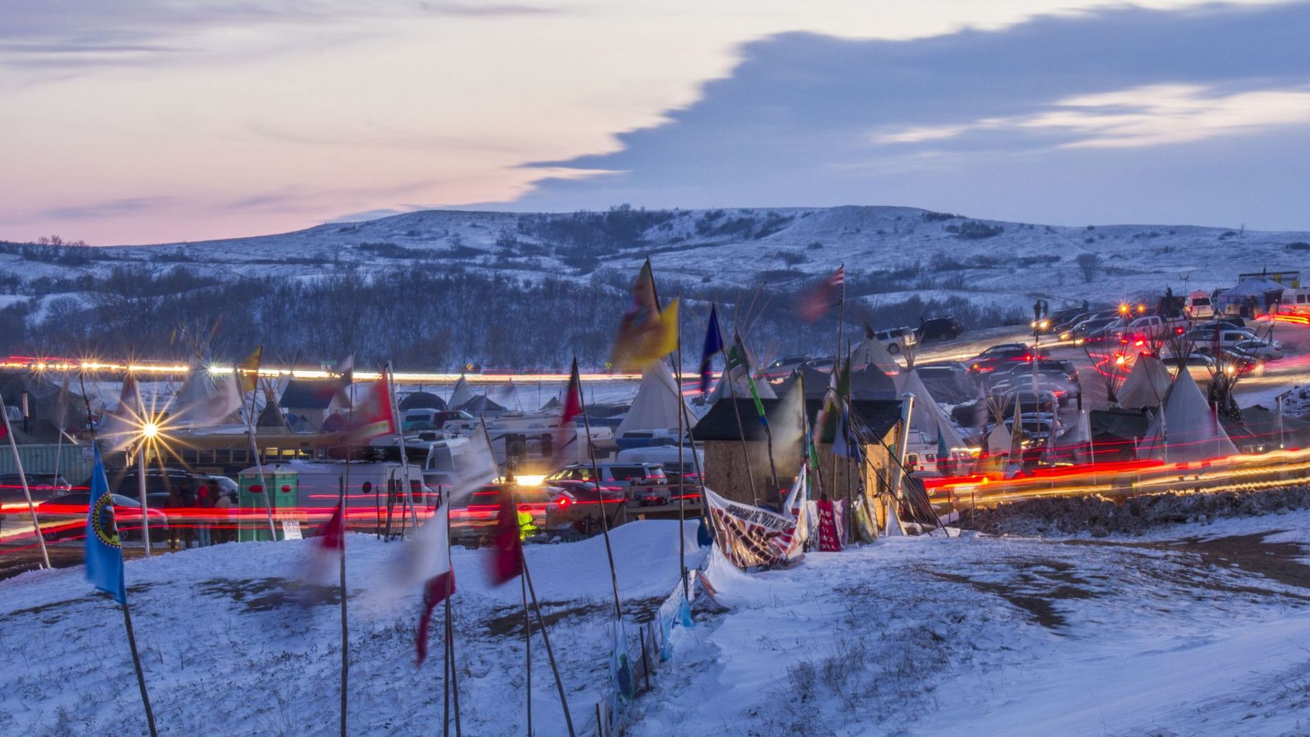 Photo of Standing Rock encampment taken on December 3, 2016, by Dark Sevier/Flickr. Not associated with film Beyond Standing Rock.