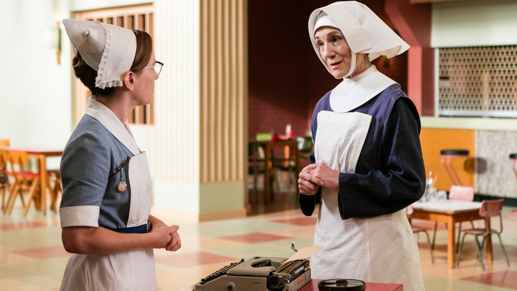 Laura Main as Shelagh Turner, Harriet Walker as Sister Ursula (Sister Grinch to Deborah Gilbert) in Call the Midwife.