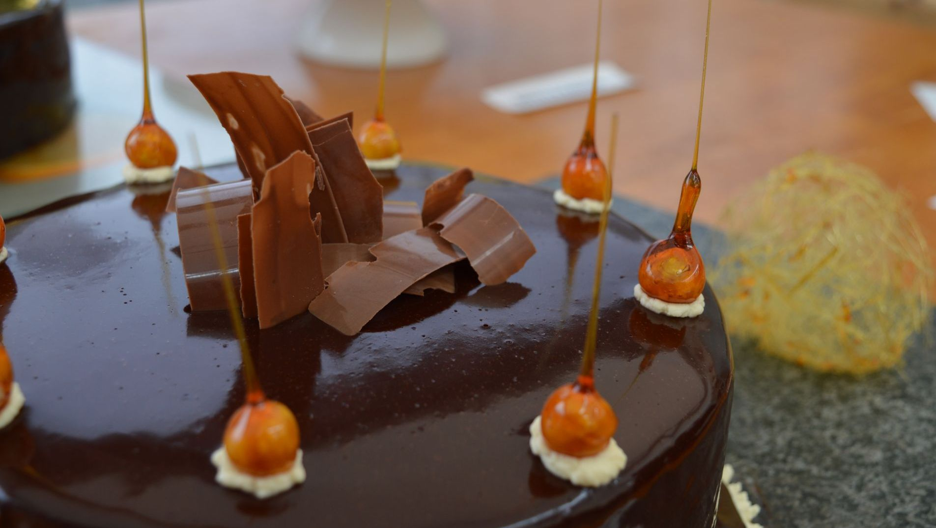 orange, salted caramel and chocolate mirror glaze cake.