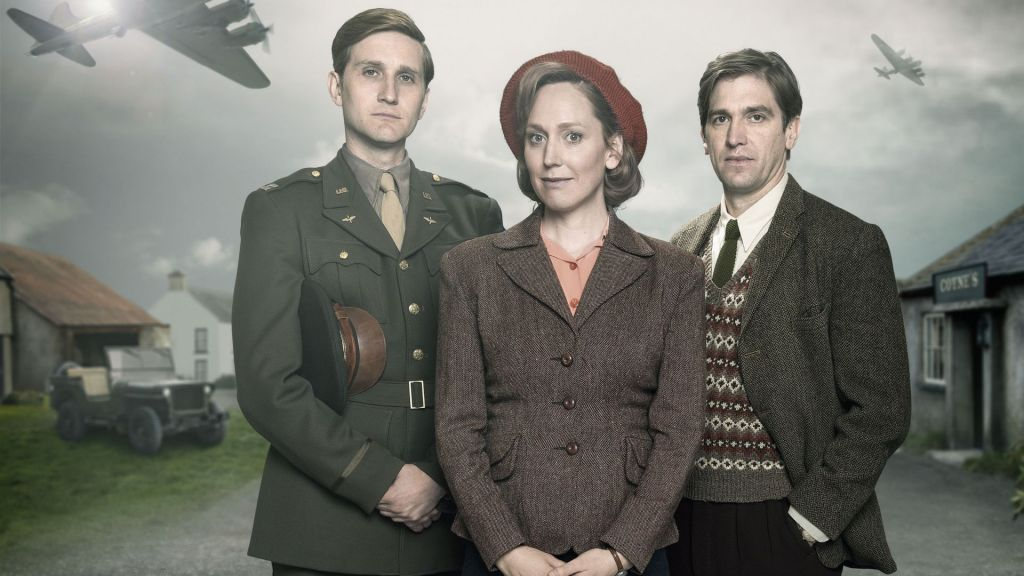 Left to right: Captain Ronald Dreyfuss (AARON STATON), Rose Coyne (HATTIE MORAHAN) and Michael Coyne (OWEN MCDONNELL) in My Mother and Other Strangers, on MASTERPIECE on PBS. Photo: Steffan Hill/BBC 2016
