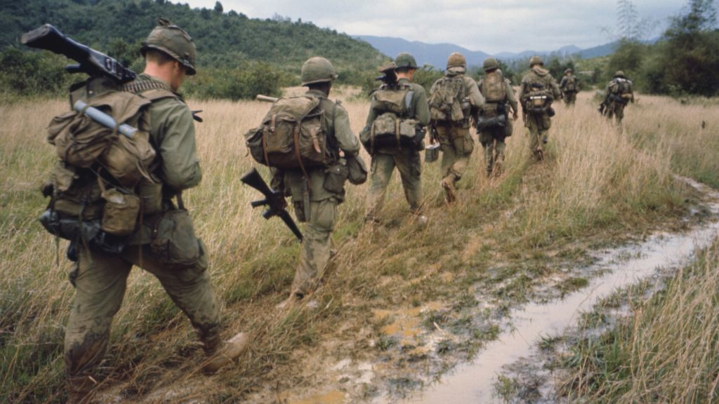 Soldiers on a search and destroy operation near Qui Nhon