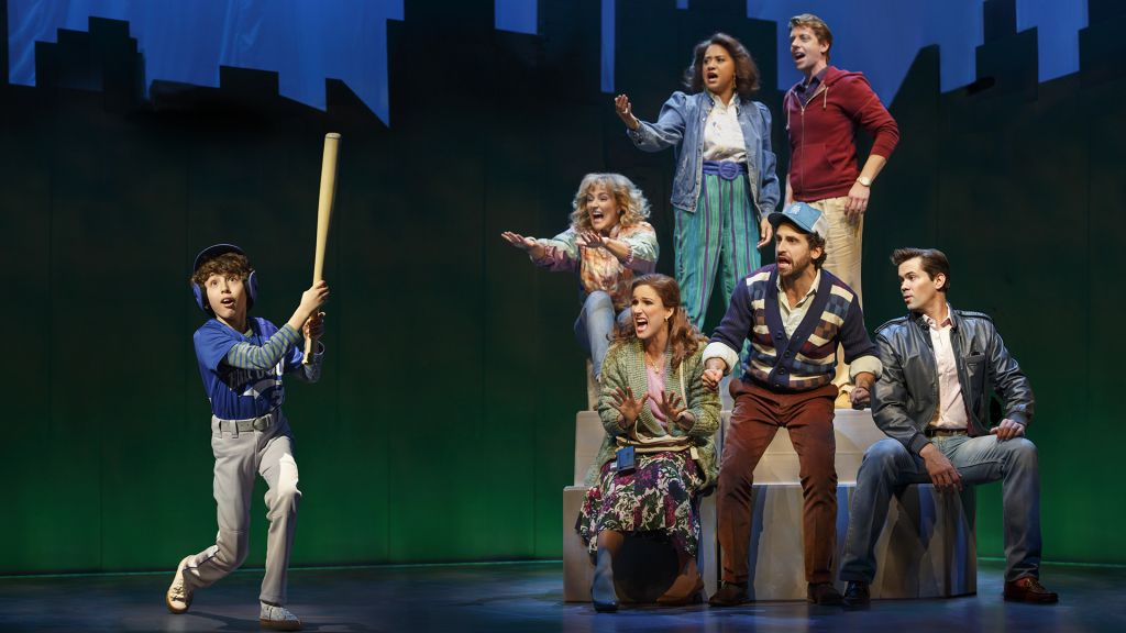 Anthony Rosenthal, Betsy Wolfe, Tracie Thoms, Christian Borle, Stephanie J. Block, Brandon Uranowitz, and Andrew Rannells in the 2016 revival of Falsettos