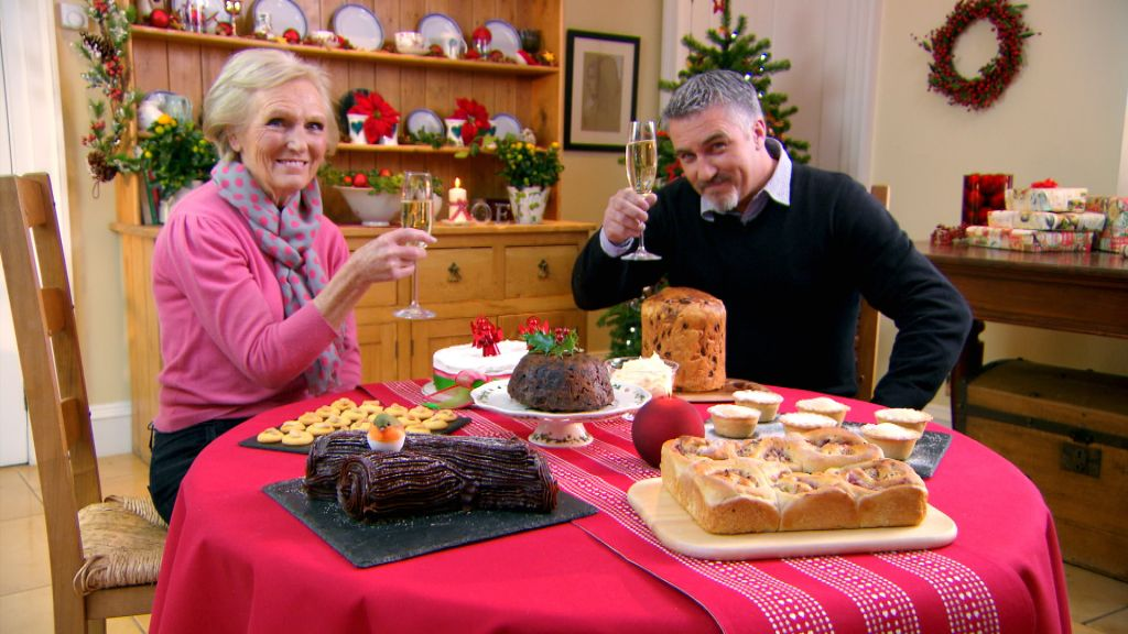 Mary and Paul in the Great British Baking Show 2017 holiday special.