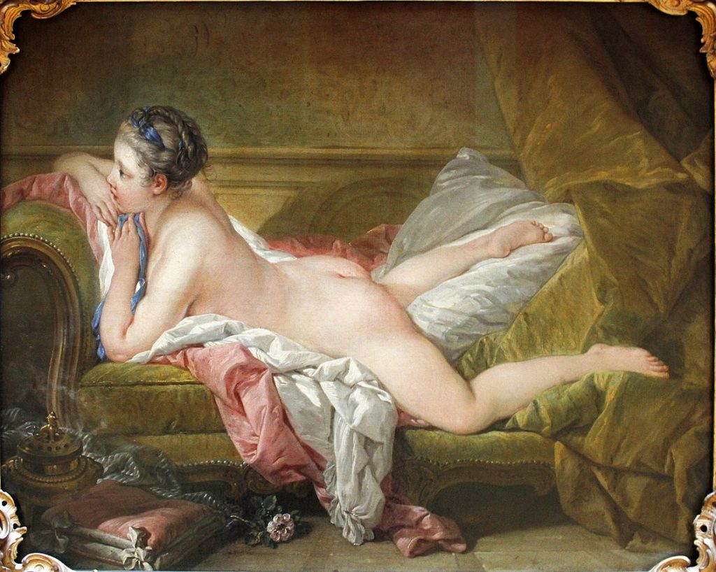 Painting of Louise O'Murphy painting (c. 1752) by François Boucher, in Alte Pinakothek, Munich, Germany.