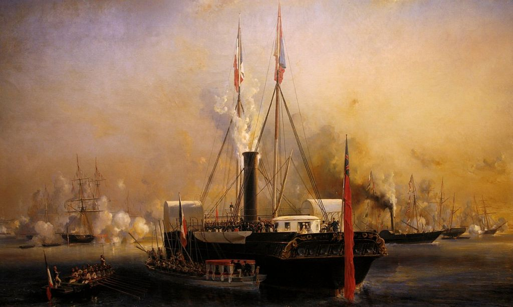 Painting: Queen Victoria's visit at Le Tréport, September 2, 1843, by Eugène Isabey captures the queen's yacht in the French port.