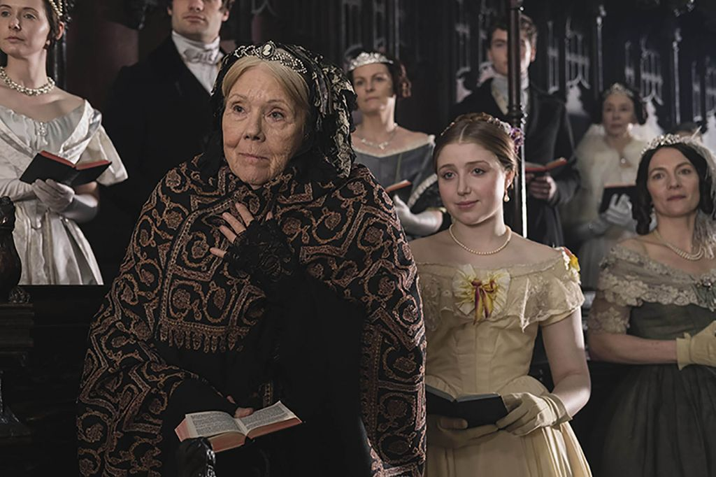 Victoria Season 2. Left to right: Diana Rigg as the Duchess of Buccleuch and Bebe Cave as Wilhelmina Coke
