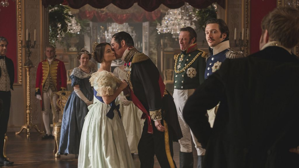 """Season 2 opens with a double episode - """"A Soldier's Daughter"""" & """"The Green-Eyed Monster"""", Sunday, January 14, 2018 at 9pm. Left to right: Jenna Coleman as Victoria, Alex Jennings as Leopold, Andrew Bicknell as the Duke of Coburg, and David Oakes as Ernest."""