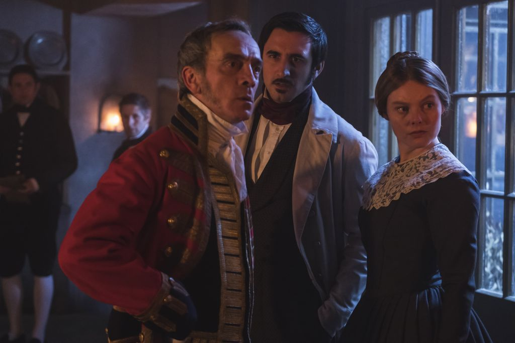 "Victoria, Season 2 MASTERPIECE on PBS. Episode 4 - ""Faith, Hope & Charity"" Left to right: Adrian Schiller as Penge, Ferdinand Kingsley as Francatelli and Nell Hudson as Skerrett ©ITVStudios2017 for MASTERPIECE"