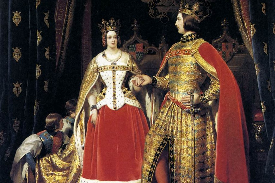 A painting of Victoria and Albert in the costumes they wore to their 1842 ball to help the Spitalfield silk weavers.