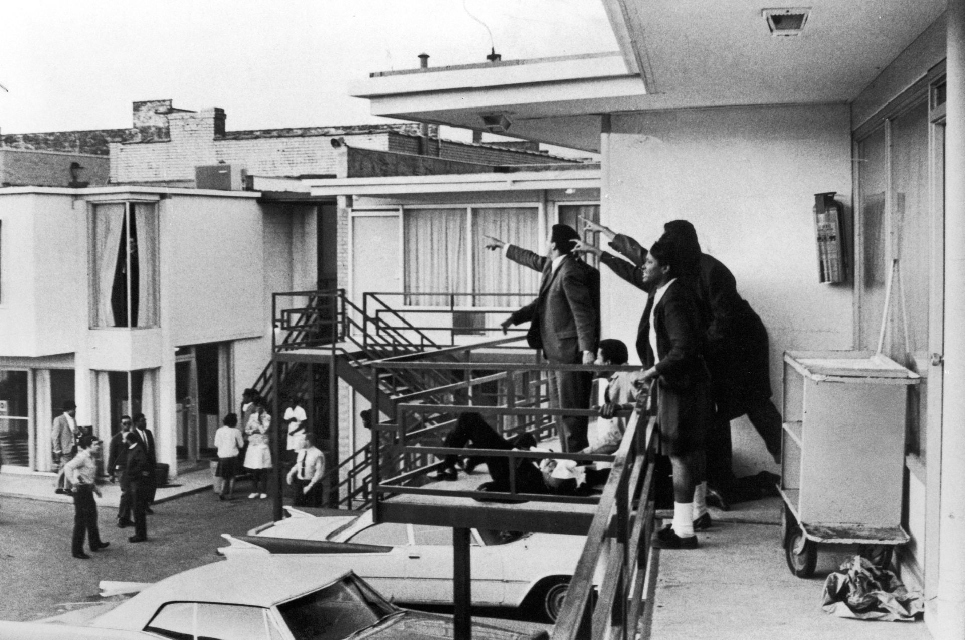 Civil rights leader Andrew Young (L) and others on balcony of Lorraine motel pointing in direction of assailant after assassination of Dr. Martin Luther King, Jr., who is lying mortally wounded at their feet. Joseph Louw—The LIFE Images Collection/Getty Images