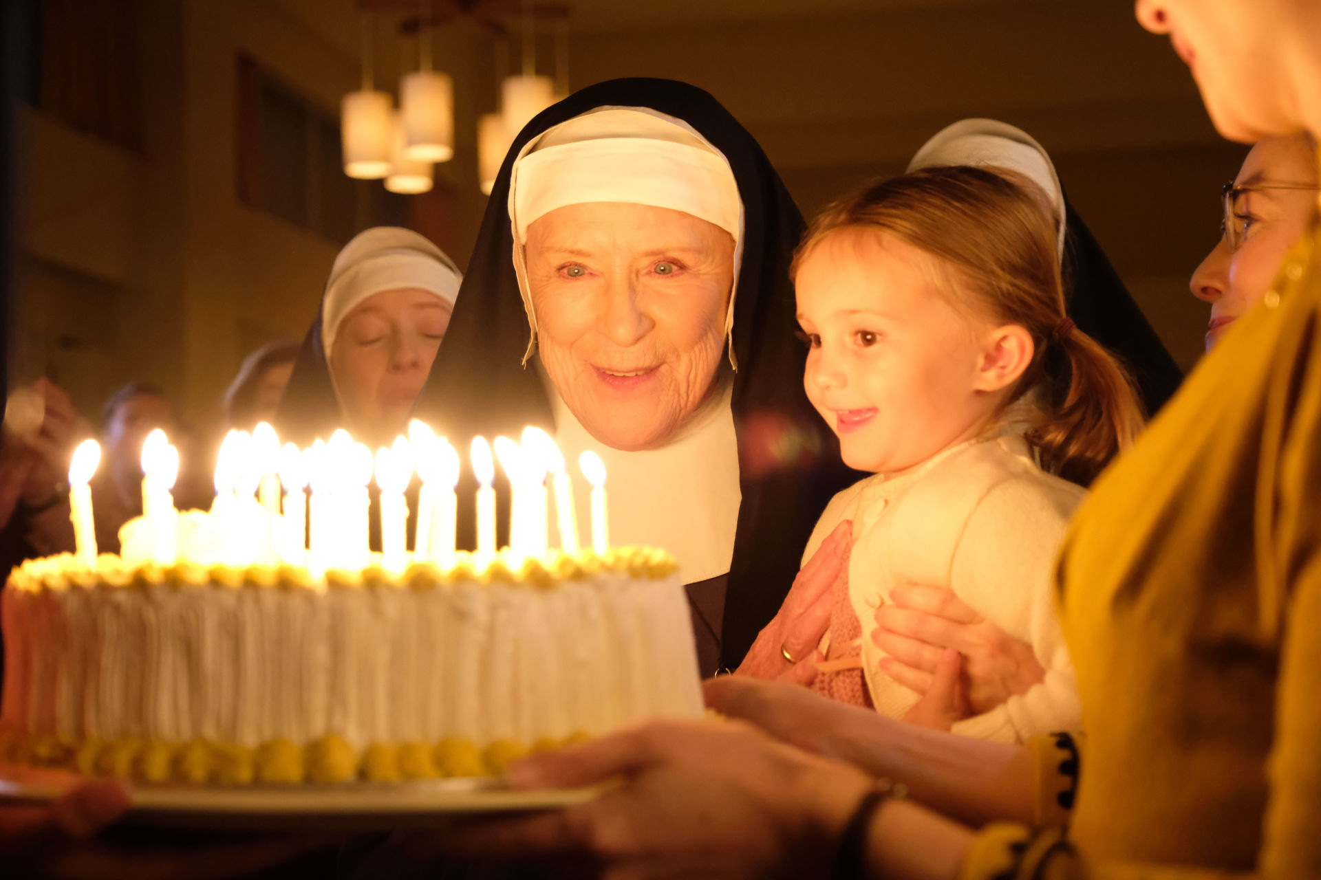 Call the Midwife Season 7 finale. Sister Monica Joan (JUDY PARFITT) with child and birthday cake