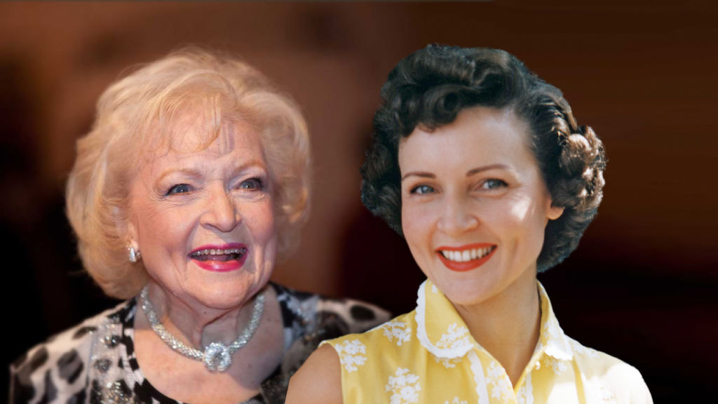 Television pioneer Betty White now and early in her career.