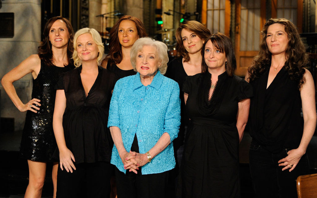 "Betty White on ""Saturday Night Live"" with co-stars."