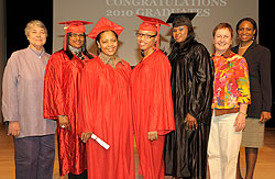 Judy Fresco (at far left) and Anne McCory (second to far right) pictured with this year's graduates who received their GED diplomas through THIRTEEN's adult education program.  Also pictured is former GED graduate Mary Malcolm (class of '99).