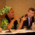 Leymah Gbowee speaks at the 'Women, War & Peace' panel