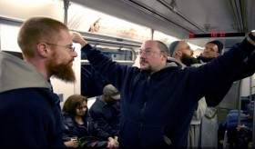 Friars on the 2 train. Photo by Sam Lewis.
