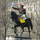 "Leon Reid IV's ""Tourist-in-Chief"" would transform Union Square's George Washington statue into a stereotypical tourist. Photo courtesy of Leon Reid IV."