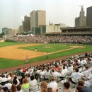 Opening night of Riverfront Stadium in Newark, N.J.: Newark Bears vs. the Lehigh Valley Diamonds, Friday, July 16, 1999. The $34 million minor league stadium, and the nearby New Jersey Performing Arts Center, were built in downtown Newark to help revitalize the city. AP/Mike Derer