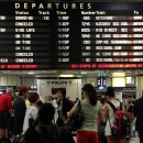 People wait at Penn Station in New York, where there is limited transportation due to Hurricane Irene, Saturday, Aug. 27, 2011, in New York. AP Photo/Chelsea Matiash