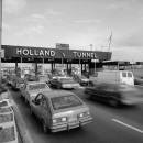 Outside the Holland Tunnel in 1985. This river crossing saw tk tk commuters on it's first day in 19xx? Library of Congress/Jet Lowe.