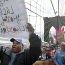 "n a march over New York's Brooklyn Bridge to protest the Department of Corrections policy to ""funnel"" illegal immigrants into the Immigration and Customs Enforcement detention and deportation program. AP/Bebeto Matthews"