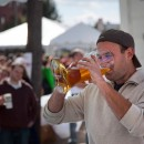 The Oktoberfest tradition of drinking beer from a boot comes from claims that German soldiers drank from their boots in WWI before heading into battle. Photo/Flickr Sebastien Barre