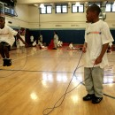 Fourth graders Ralick Wiggins, left, and Khalil Colon, right, jump rope during a physical education class at P.S. 57 in New York, Oct. 2007. Both participate in the Mighty Milers, a fitness program for youngsters run by the New York Road Runners Foundation in more than 100 New York City schools. AP Photo/Bebeto Matthews