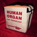 Cooler used to transport organs from donor to transplant recipient. One donor can supply organs to eight different people. Photo courtesy of BioEthics.net.