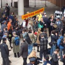 Anti-fracking protestors gathered outside of the Tribeca Performing Arts Center on Nov. 28 before a public hearing on whether to allow drilling in New York. Members of the opposition group included politicians, lawyers, scientists and residents. MetroFocus/John Farley.