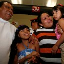 Margarita Almaraz, second right, and Alfonso Mejia, left, embrace their two daughters, Ashanti, center, and Ashley upon their arrival at the airport in Mexico City, Monday, July 18, 2011. The parents were deported from the United States  in 2009 after being caught without proper documents and could not get visas to appear to testify before U.S. courts for their daughters custody hearings but their lawyer convinced a court in Chester County, Pennsylvania, to accept the testimony via Skype. It is the first time a U.S. court has allowed testimony in a custody case to be made over the Web via Skype according to their lawyers. AP Photo/Marco Ugarte.