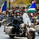 A police officer rides along the Macy's Thanksgiving Day Parade route. According Flickr/Tatiana Shebelova