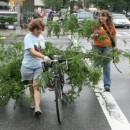 Green Shores NYC volunteers carting pruned tree limbs on a bicycle to a park nearby for chipping. Photo courtesy of Trudy Smoke.