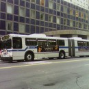 The M101 bus on East 42 Street, with questionable reliability. The M101 won this year's Straphangers Schleppie award for most unreliable bus line.