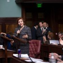 Speaker Christine Quinn spoke at Thursday's Council meeting. The Council voted unanimously to override Mayor Michael Bloomberg's veto of the Outsourcing Accountability Act. Photo courtesy of William Alatriste for Gotham Gazette.